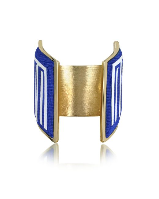 Avril 8790 - Blue Rigore Light Gold-plated Brass And Multicolor Viscose Bangle - Lyst