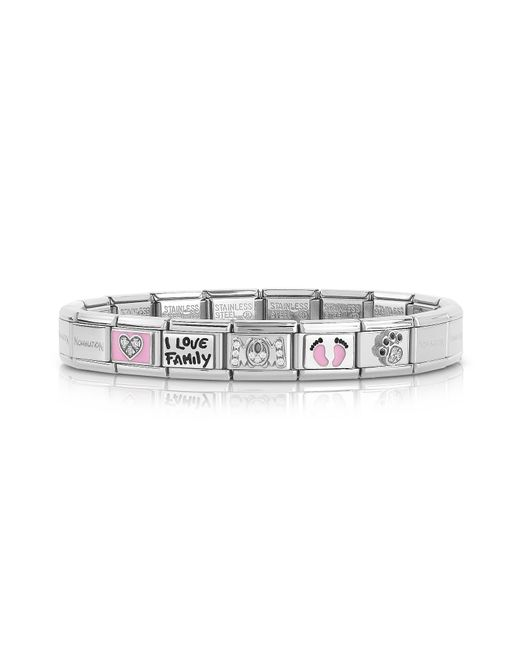 Nomination - Metallic Classic Mamma Stainless Steel Women's Bracelet W/pink Symbols - Lyst