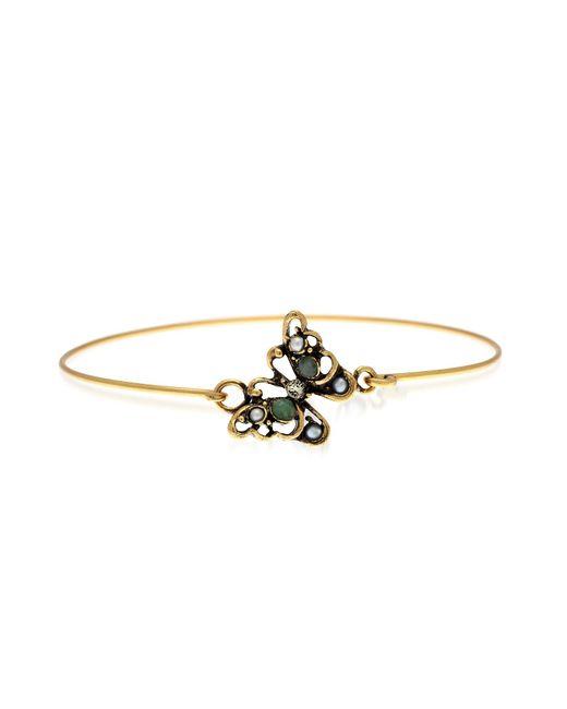 Alcozer & J - Metallic Butterfly Goldtone Brass Bangle W/glass Pearls - Lyst