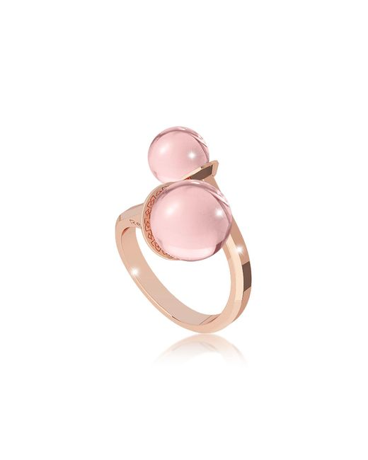 Rebecca | Boulevard Stone Rose Gold Over Bronze Contrarié Ring W/hydrothermal Pink Stones | Lyst