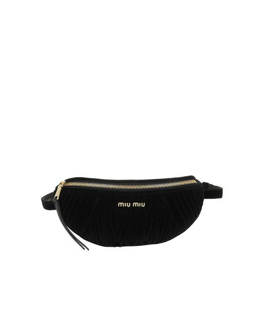 Miu Miu - Black Matelasse Velvet Belt Bag Nero - Lyst