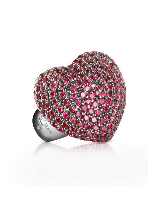 Azhar - Red Sterling Silver And Cubic Zirconia Big Heart Ring - Lyst