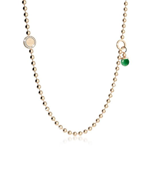 Rebecca | Green Boulevard Stone Yellow Gold Over Bronze Necklace W/double Charms | Lyst