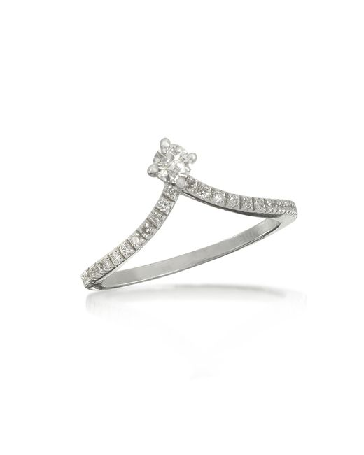 Forzieri - 0.12 Ctw Diamond 18k White Gold Solitaire Ring - Lyst