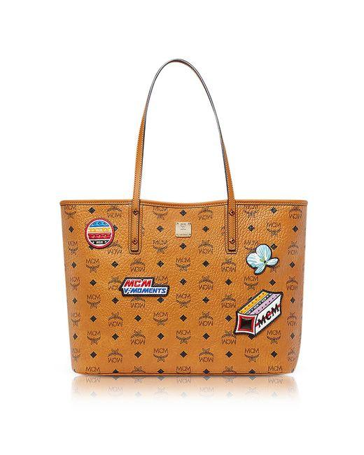 MCM - Brown Anya Top Zip Shopper In Victory Patch Visetos - Lyst