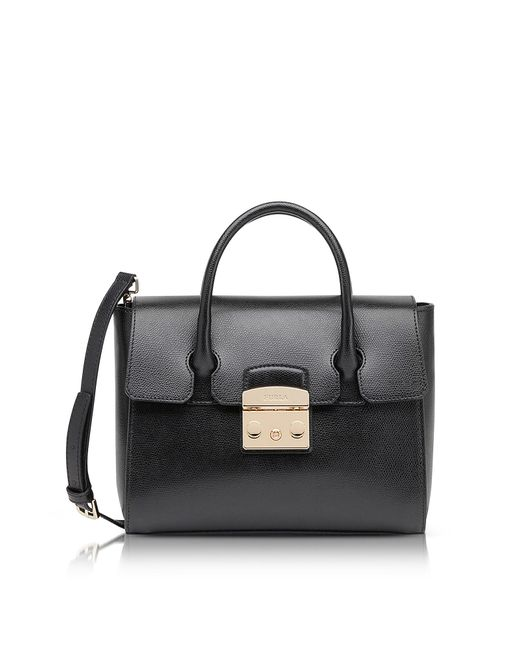 Furla | Black Onyx Grained Leather Metropolis Small Satchel | Lyst