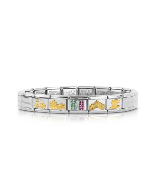 Nomination - Metallic Classic Italia Golden Stainless Steel Bracelet W/cubic Zirconia Italian Flag - Lyst