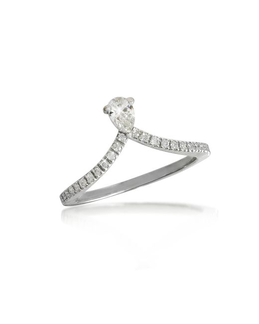 Forzieri - White Gold Drop Shaped Diamond Ring - Lyst