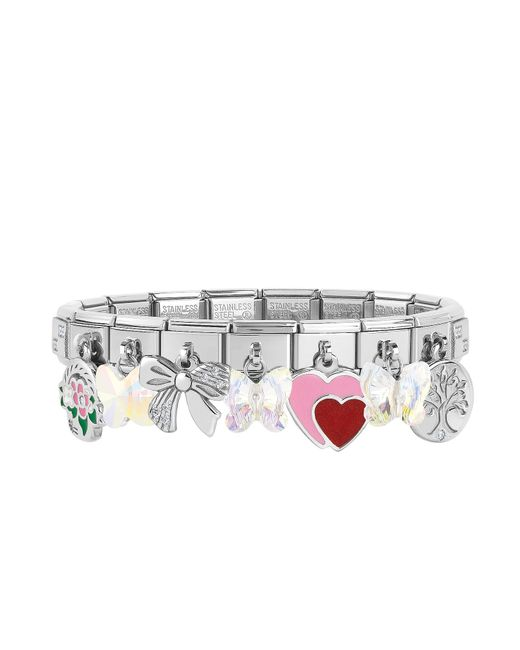 Nomination - Metallic Classic Sweet Charms Sterling Silver And Stainless Steel Bracelet - Lyst