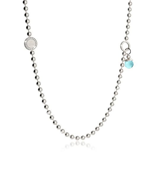Rebecca | Metallic Boulevard Stone Rhodium Over Bronze Necklace W/double Charms | Lyst