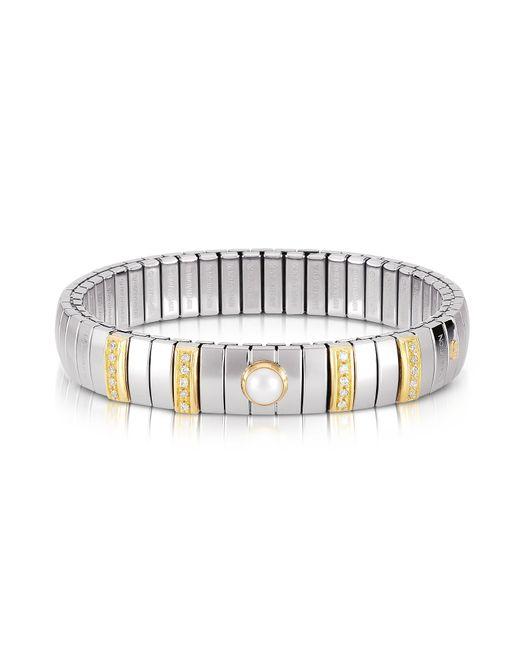 Nomination - Metallic Three Pearls Golden Stainless Steel Women's Bracelet W/cubic Zirconia - Lyst