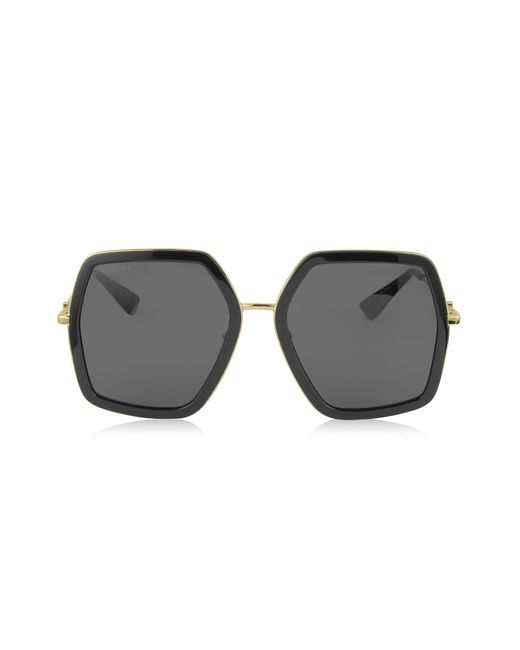 58dbb35a192 Gucci - GG0106S 001 Black Acetate And Gold Metal Square Oversized Women s  Sunglasses - Lyst