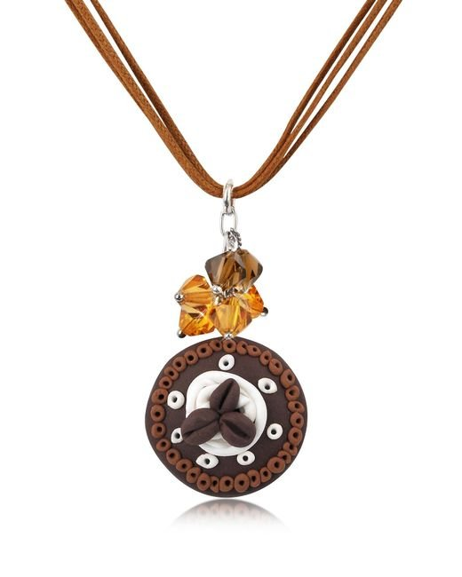 Dolci Gioie | Brown Chocolate Cake Pendant W/lace | Lyst