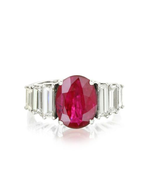 Forzieri - Red Ruby And Diamond White Gold Ring - Lyst