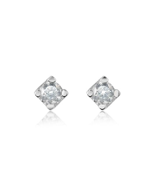 Forzieri - White 0.18 Ct Diamond Stud 18k Gold Earrings - Lyst