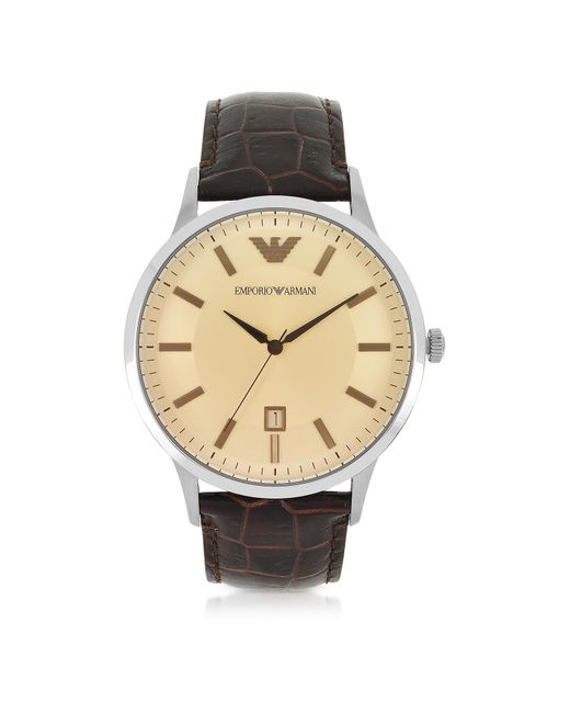 Emporio Armani - Brown Stainless Steel Men's Watch W/embossed Leather Strap for Men - Lyst