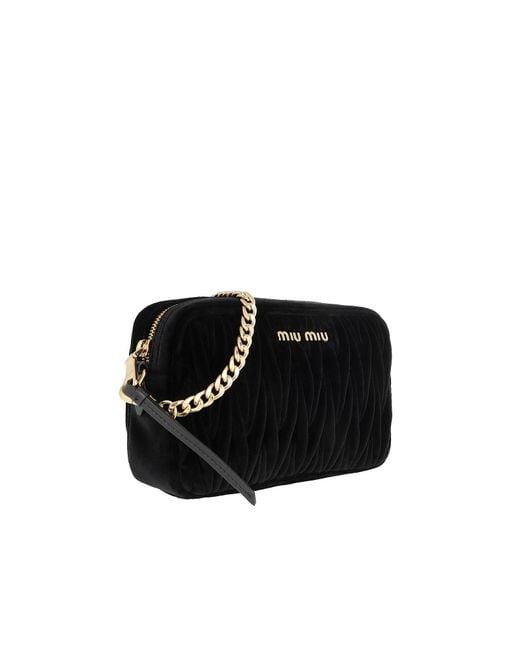 d8313eb44978 ... Miu Miu - Matelassé Shoulder Bag Velvet Black - Lyst ...