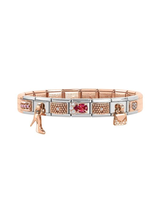Nomination - Metallic Classic Couture   Charms Rose Gold And Stainless  Steel Bracelet W cubic bde3a700e2f4