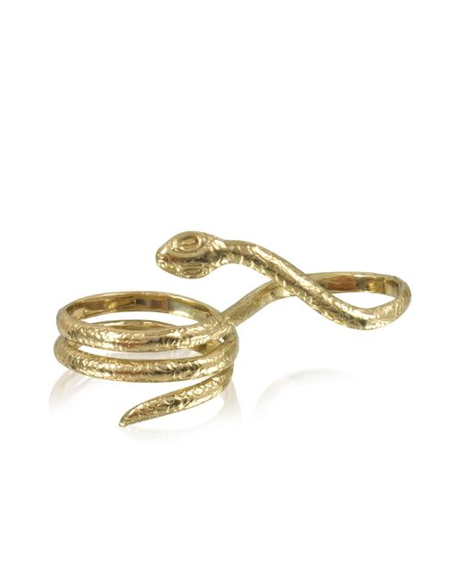 Bernard Delettrez - Metallic Two Fingers Bronze Ring W/3 Laps Snake - Lyst