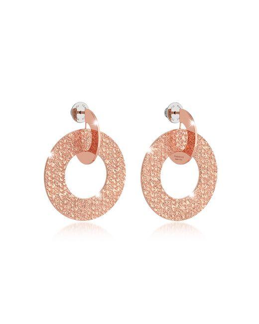 Rebecca | Pink R-zero Rose Gold Over Bronze Drop Hoop Earrings | Lyst