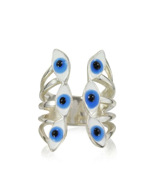 Bernard Delettrez - Metallic Sterling Silver Ring W/6 Blue Eyes - Lyst
