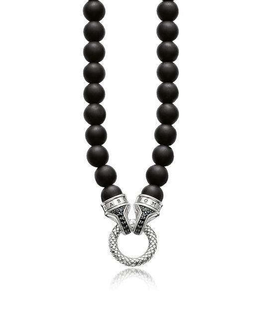 Thomas Sabo - Blackened Sterling Silver And Obsidian Beads Men's Necklace W/black Zirconia - Lyst
