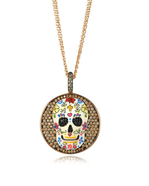 Azhar - Pink Calavera Skull Rhodium Plated Sterling Silver Pendant Necklace W/zirconia - Lyst