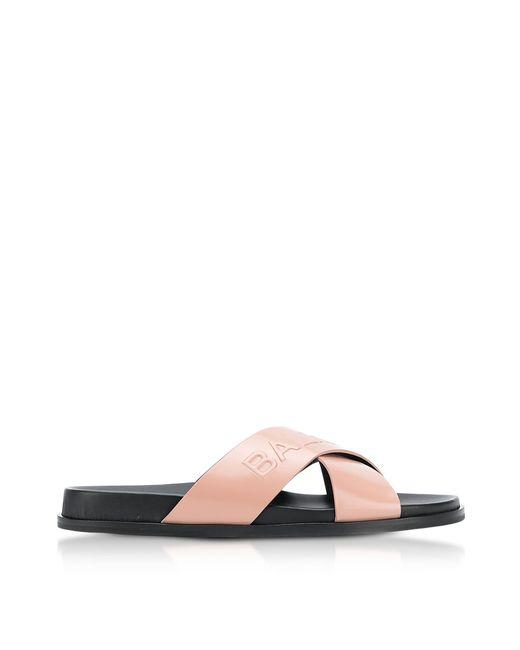 Balmain - Natural Powder Leather Criss Cross Women's Slide Sandals - Lyst