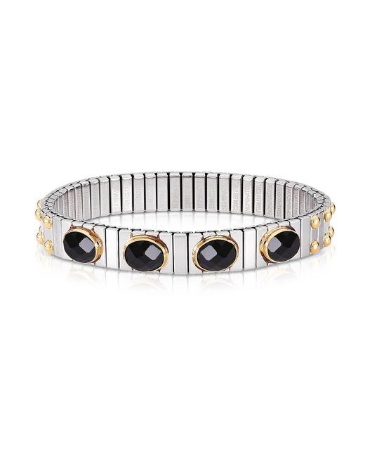 Nomination - Metallic Black Cubic Zirconia Stainless Steel W/golden Studs Women's Bracelet - Lyst