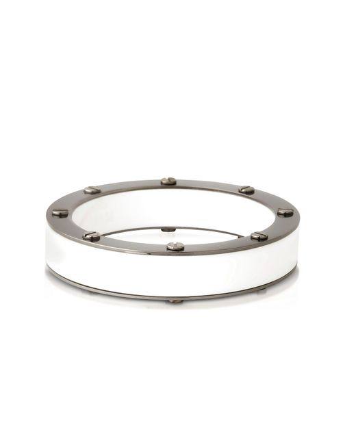 Pluma - White Resin And Brass Double Viti Small Bangle In Fumoso - Lyst
