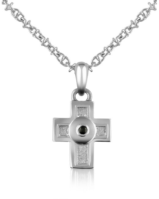 Forzieri - Metallic Central Black Sapphire Stainless Steel Cross Pendant Necklace for Men - Lyst