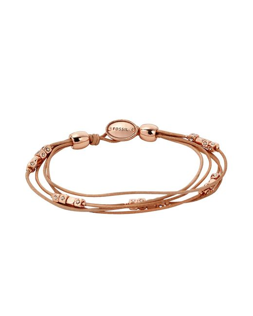 Fossil - Natural Tan Multi-strand Wrist Wrap Women's Bracelet - Lyst