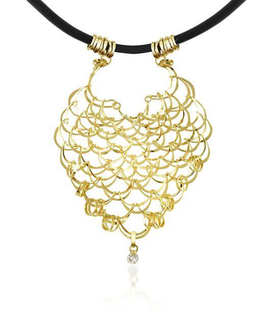 Orlando Orlandini - Metallic Scintille - Diamond Drop 18k Yellow Gold Net Necklace - Lyst