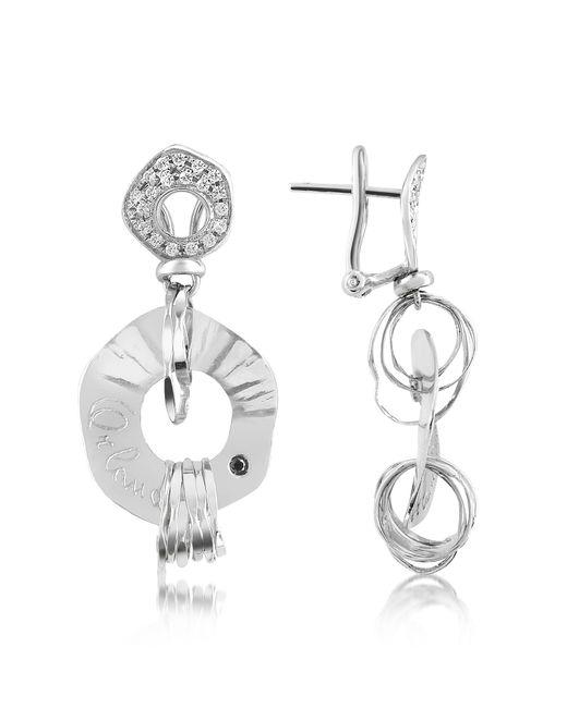 Orlando Orlandini - Fashion - Diamond 18k White Gold Drop Earrings - Lyst