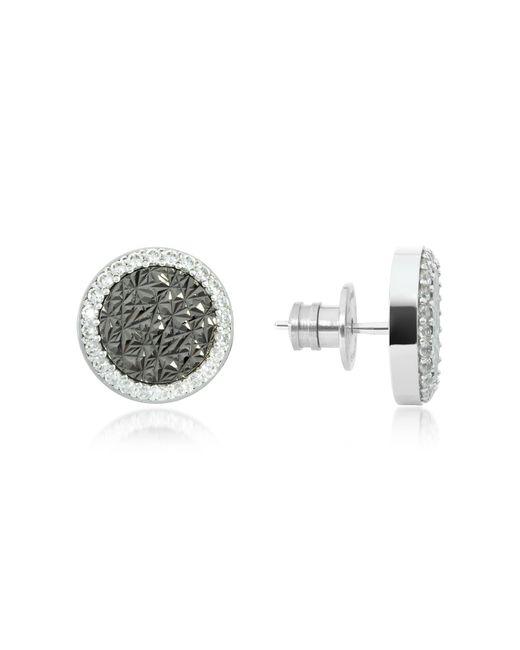 Rebecca - Black R-zero Rhodium Over Bronze Stud Earrings W/stones - Lyst