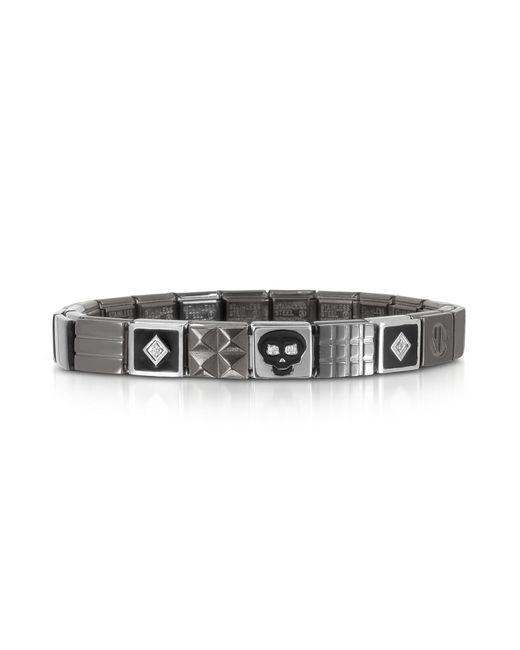 Nomination | Metallic Steel Ikons Black Enamel And Brushed Stainless Steel Bracelet W/cubic Zirconia for Men | Lyst