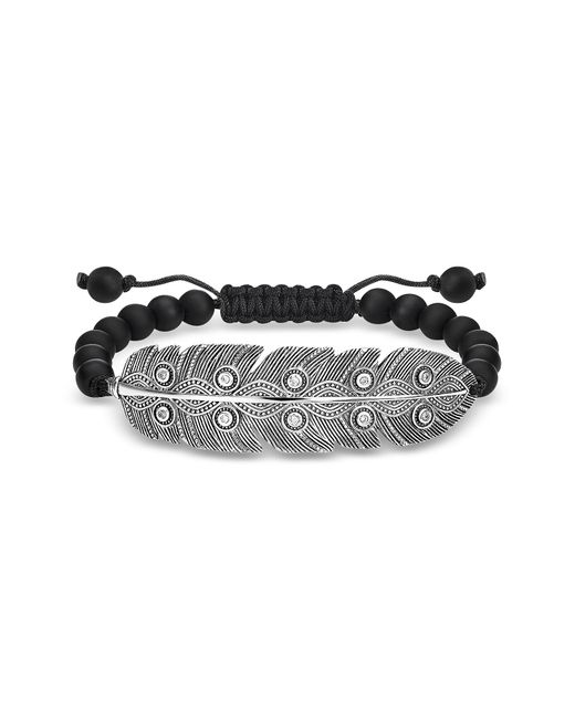 Thomas Sabo - Metallic Blackened 925 Sterling Silver Obsidian And Zirconia Feather Bracelet for Men - Lyst