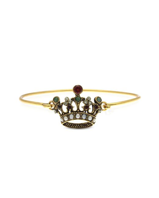 Alcozer & J | Metallic Princess Goldtone Brass Bangle W/crown | Lyst