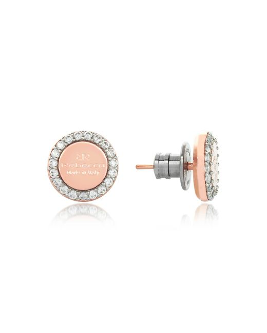 Rebecca | Pink Boulevard Stone Rose Gold Over Bronze Stud Earrings W/stones | Lyst