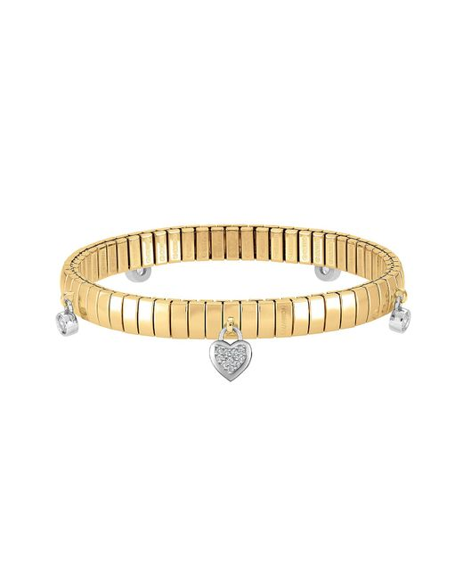 Nomination - Metallic Yellow Gold Pvd Stainless Steel Women's Bracelet W/heart Charms And Cubic Zirconia - Lyst