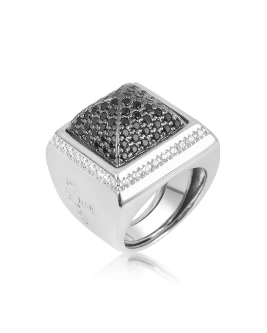 Azhar - Metallic Black Cubic Zirconia Square Ring - Lyst