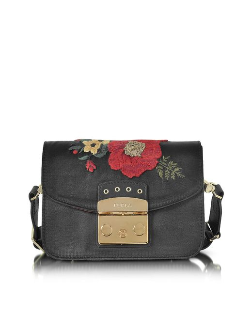 Furla Onyx Embroidered Satin Metropolis Floral Mini Crossbody Bag In Black | Lyst