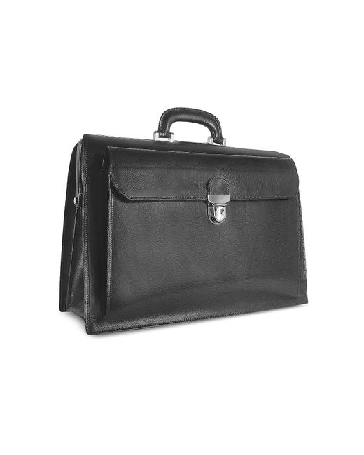 FORZIERI | Black Italian Leather Buckled Large Doctor Bag for Men | Lyst