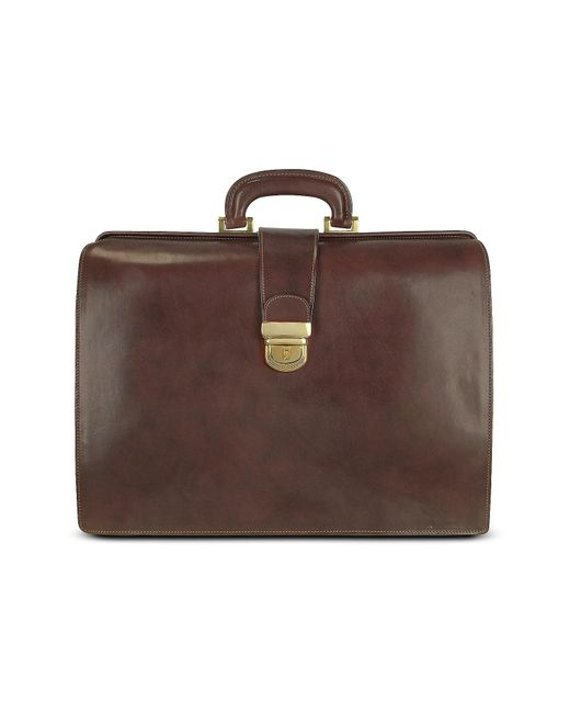 FORZIERI | Brown Italian Leather Buckled Large Doctor Bag for Men | Lyst