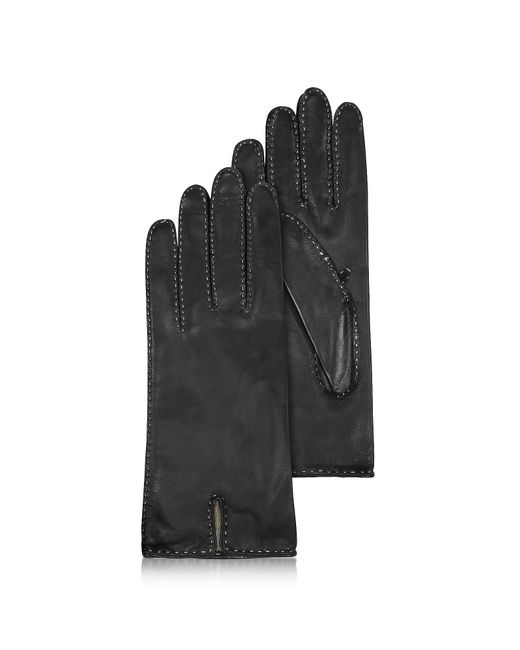 FORZIERI   Women's Stitched Cashmere Lined Black Italian Leather Gloves   Lyst