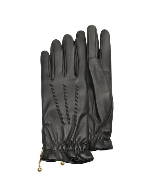 FORZIERI | Women's Embroidered Black Calf Leather Gloves | Lyst