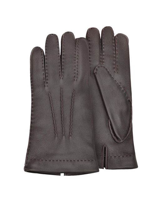 FORZIERI | Men's Cashmere Lined Brown Italian Deer Leather Gloves for Men | Lyst
