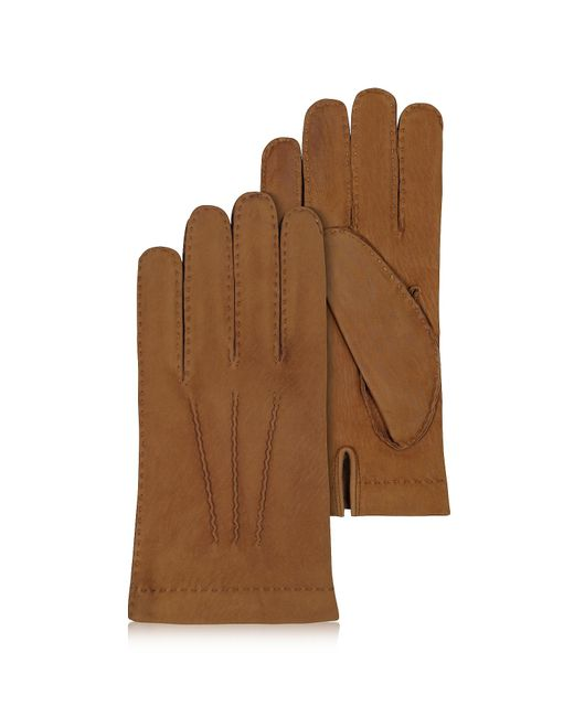 FORZIERI | Men's Cashmere Lined Brown Italian Calf Leather Gloves for Men | Lyst