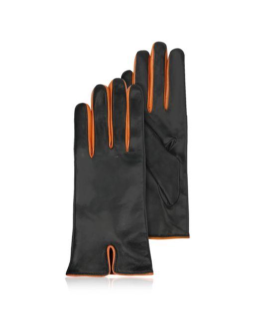 FORZIERI | Black & Orange Cashmere Lined Leather Ladies' Gloves | Lyst