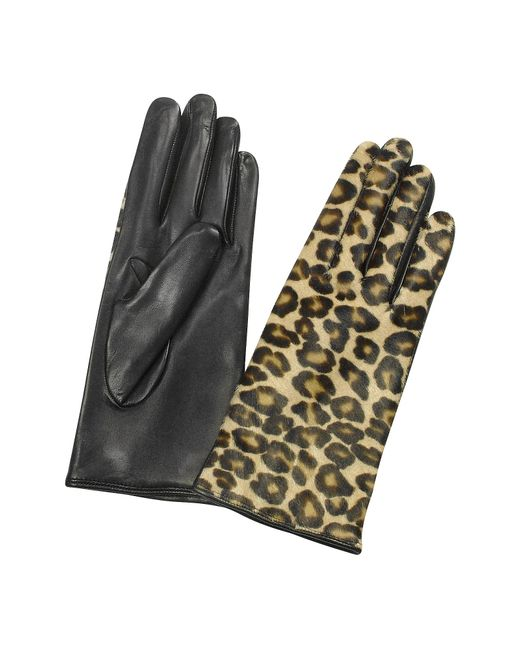 FORZIERI | Multicolor Women's Leopard Pony Hair And Italian Nappa Leather Gloves | Lyst